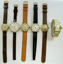 LOT Vintage Antique 6 Mens Wristwatch HAMILTON WALTHAM ELGIN ABRA INGERSOLL