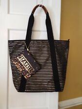 Bath & Body Works Black Gold Stripe Canvas Sparkle Zip VIP Tote Bag New NWT