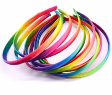 2 Alice Bands Rainbow Satin 1.5cm Headband Hair Band Set Womens Girls Kids