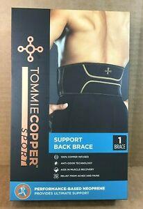 Tommie Copper Support Back Brace Pain Relief Medium Black -  D19