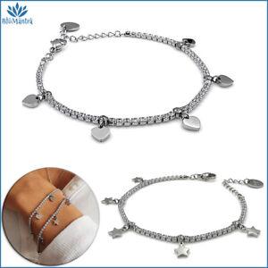 Bracciale da donna tennis stelle cuore in acciaio inox braccialetto regalo per a