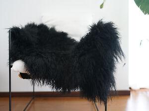 100% Real Fur Blanket Mongolian Lambskin Sheepskin Hide Bed Rugs Hand Stitching