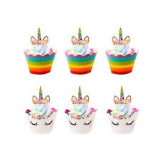 Unicorn Rainbow Cupcake Toppers Wrappers Birthday Party Cake Decoration 24Pcs