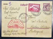 GERMANY to RUSSIA 1931, $450, ZEPPELIN, Rare Polarfahrt/Pole Flight Airmail Card