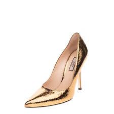 RRP €135 LIU JO Leather Court Shoes EU 38 UK 5 US 8 Cracked Metallic Effect Logo