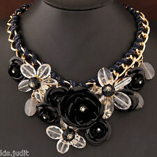 Bellissima collana shourouk Belen girocollo nero con fiori in metallo