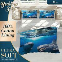 Dolphins Ocean Sea Life Blue Quilt Cover Doona Duvet Cover w 2 Pillowcase