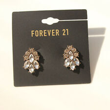New Forever21 Rhinestone Big Stud Earrings Birthday Gift Vintage Women Jewelry