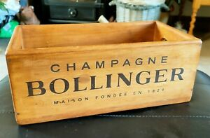 Bollinger Vintage Style Champagne Wooden Storage Box With Handles 26cm