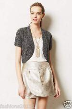 New Anthropologie Cabled Shimmer Bolero Size Sz XL Extra Large  Cardigan Gray