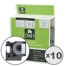 """10pk Blue on White Tape Label Compatible for DYMO 53714 D1 24mm 1"""""""