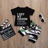2Pcs Toddler Infant Baby Boys Summer T-shirt Tops Camo Pants Outfits Set Clothes