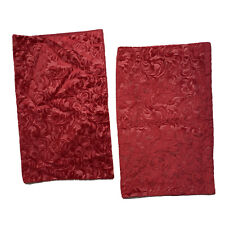 2 LifeStyles by Home Accents Pillowcases Pair Shams Red Plush Damask Furry Soft
