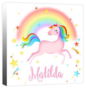 Personalised Unicorn Rainbow Star Girls Name, Childrens Canvas Art Print Picture
