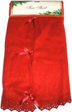 "Christmas Tree Skirt 48"" Red  Fleece New USA Seller"