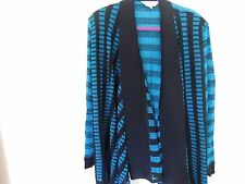 NEW MISOOK 1X  DRAPE COLLAR NOVELTY STRIPPED CARDIGAN CERULEAN & BLK