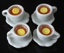 4 CUPS OF HOT LEMON TEA DOLLHOUSE MINIATURES FOOD SUPPLY DECO DRINK BEVERAGE