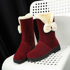 Women's New Winter Warm Bow-knot Low Heels Round Toes Ankle Boots shoes Outdoor