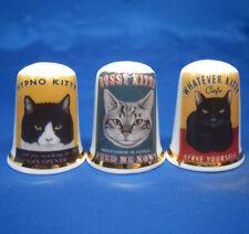 Birchcroft China Thimbles -- Set of Three -- Kitty Posters