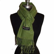 Fashion 100% Cashmere Scarf Solid Sage Green Scotland Made Warm Wool Wrap #Fr05
