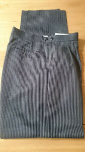 Moss Bros  Trousers Tailored Covent Garden Grey/ Dark Pinstripe Pleated