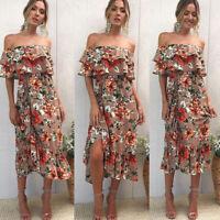 AU Womens Dress Floral Long Maxi Dress Sleeveless Evening Party Summer Beach