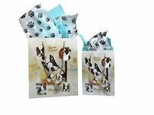 New Boston Terrier Breed Gift Bags Set of Two with Tissue Paper Terriers by Ruth