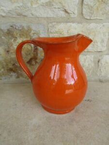 "Handpainted Art Pottery Orange Pitcher 7 1/2"""