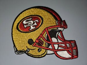 """SAN FRANCISCO 49ERS RED & GOLD HELMET EMBROIDERED IRON ON PATCHES 3"""" X 3"""""""