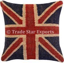 Vintage Kilim Jute Pillow Case 18x18 Boho Hand Woven Rug Throw Cushion Cover Art