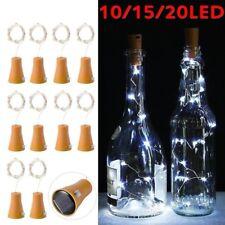 10/20 LED Solar Wine Bottle Cork Shaped String Light Night Fairy Light Outdoor^^