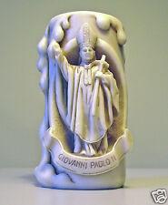 Portacandela + Candela in resina anticato raffigurante Giovanni Paolo II 10 cm