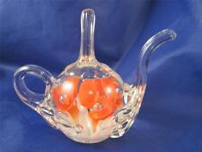 Vtg Joe St Clair Blown Art Glass Orange Flower Teapot Paperweight Ring Holder