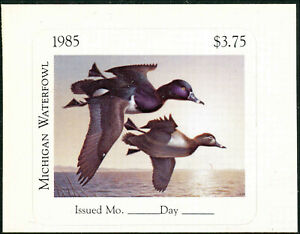 MICHIGAN  #10P  1985 STATE DUCK STAMP IMPERF PROOF DIE CUT by  Robert Steiner