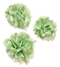 "3 pieces Lime green 2"" chiffon & tulle mesh chevron flowers / diy hair bows"