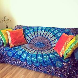Indian Cotton Tapestry Sofa Couch Cover Bohemian Mandala Wall Hanging Yoga Mat