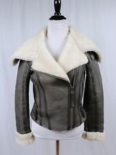 TOPSHOP Brown Leather Shearling Sheepskin Bomber Flying Jacket Small US 4 UK 8