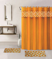 4PC ORANGE GEOMETRIC BATHROOM SET BATH MATS SHOWER CURTAIN FABRIC HOOKS