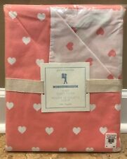 NEW Pottery Barn Kids Organic Heart TWIN Duvet CORAL