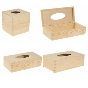 Square or Rectangular Plain Wooden Tissue Box Cover Wood Holder for Decoupage