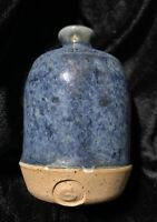 """Vntg Studio Pottery Mcm 3.5"""" Weed Pot Signed Stamped S Blue Glaze"""