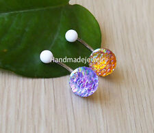 2pcs 316L Surgical Steel mermaid scales Belly Button Ring Jeweled Body Piercing