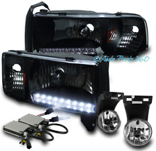 94-01 DODGE RAM DRL LED BLACK CRYSTAL HEADLIGHT LAMP W/DRIVING FOG LIGHT+8K HID