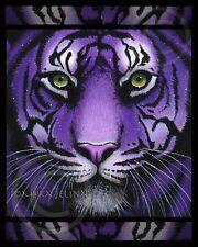 Purple Tiger Big Cat Green Eyes Fiala Myka Ltd Ed Signed CANVAS Embellished