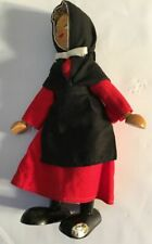 """7"""" Polish vintage Wooden ALL wood doll red black dress with hood. Made in Poland"""