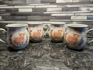 Set Of 4 Pioneer Woman Gray Gingham with Pig 15-Ounce Ceramic Mugs