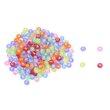 200 X Perle Rond Lettre Alphabet En Plastique Multicolore 7mm A8Z9