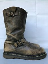 Women's 8 Dr Martens CASE Engineer Tan Brown Riding Leather Boots Doc Motorcycle