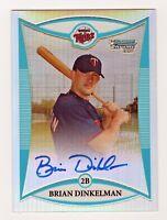 2008 Bowman Chrome Refractor Brian Dinkelman Minnesota Twins Autograph 332/500