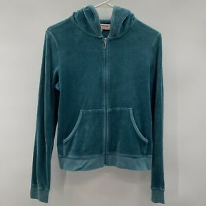 Juicy Couture Green Velour Hoodie Full Zip Jacket Pullover With Graphic Size XL